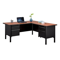 "Stahl Steel Double Pedestal L-Desk with Laminate Top - 66""W x 72""D, 11016"