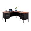"Stahl Steel Double Pedestal L-Desk with Laminate Top - 66""W x 72""D, 11016"