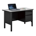 "Stahl Steel Single Pedestal Desk with Laminate Top - 48""W x 24""D, 11018"