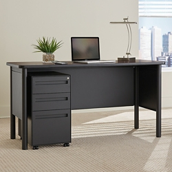 Stahl Steel Compact Desk with Laminate Top and Mobile Pedestal, 16138