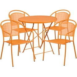 "30"" Folding Table and Four Stacking Chairs, 86316"