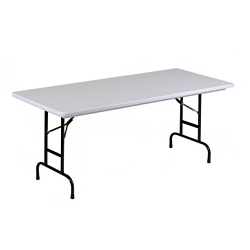 "Lightweight Adjustable Height Plastic Folding Table - 48""W x 24""D, 46069"