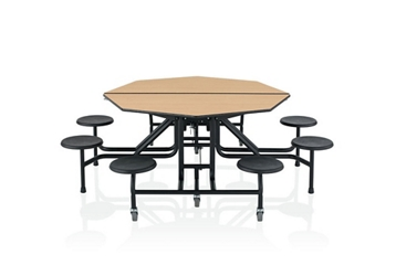 "29""H Fold and Roll Octagonal Cafeteria Table with Stools - 5', 92170"