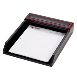 Rosewood and Leather Letter Tray, 91288