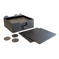 23 Piece Leather Conference Room Accessory Set with Drawer Organizer, 91481
