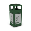 Ashtray Dome Lid Waste Receptacle with Cattail Design - 42 Gallon, 82386