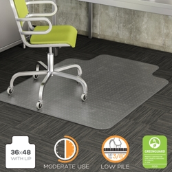 """Commercial Quality Chair Mat with Lip 36""""W x 48""""D for Carpet Floors, 54477"""