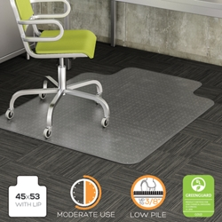 "Moderate Use Chair Mat with Lip 45""W x 53""D for Carpet Floors, 54475"