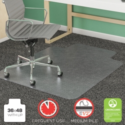 "Frequent Use Chair Mat with Lip 36""W x 48""D for Carpet Floors, 54471"