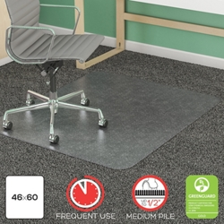 "Frequent Use Chair Mat 46""W x 60""D for Carpet Floors, 54473"