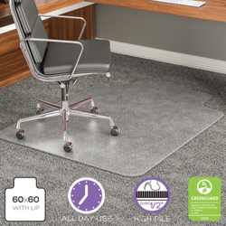 "Big and Tall Chair Mat With Lip 45""W x 53""D for Carpet Floors, 54467"