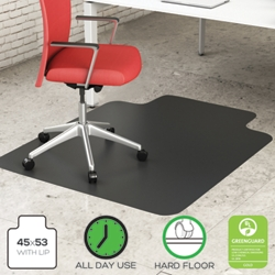 "Classic Chair Mat with Lip 45""W x 53""D for Hard Floors, 54488"