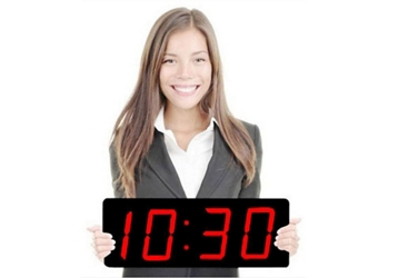 "Digital LED Clock with 5"" Red Numerals - 20""W, 82747"