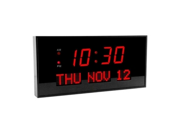 "Digital Red Numeral LED Clock with Calendar Display - 16""W, 82748"
