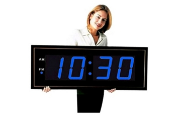 "Digital LED Clock with 8"" Blue Numerals - 40""W, 82753"