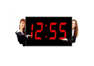 "Huge LED Wall Clock with 15"" Red Numerals - 44""W, 82754"