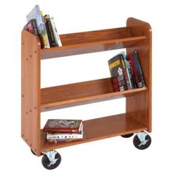 "Angled Three Shelf Mobile Book Cart - 47""H, 36517"
