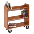 "Angled Three Shelf Mobile Book Cart - 47""H, 36517"