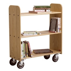 "Flat Three Shelf Mobile Book Cart - 37.5""H, 36518"