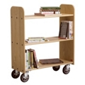 "Flat Three Shelf Mobile Book Cart - 37.5""H, 36518"