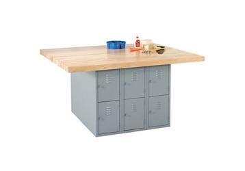 "Workbench with Twelve Gray Steel Lockers - 54"" x 64"", 92179"