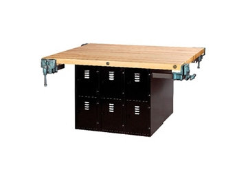 """Workbench with Twelve Gray Steel Lockers and Four Vices - 54"""" x 64"""", 92181"""