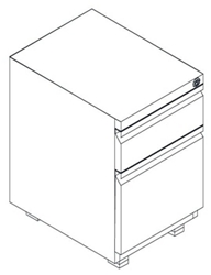 "Mobile Two Drawer Locking Pedestal - 15""W, 60148"