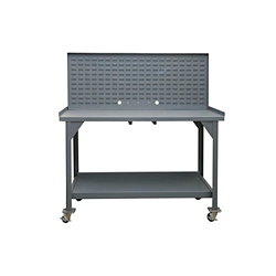 "Mobile Industrial Workbench with Louvered Panel - 60""W x 30""D, 46295"