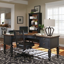 Two Tone L-Desk and Bookcase Set , 14269