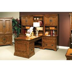 Peninsula Partner Desk with Storage Wall, 86280