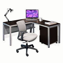 "Compact 60""W L-Desk & Chair, 16017"