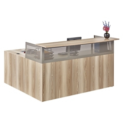 At Work Reception L-Desk with Right Return in Warm Ash, 14172
