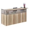 "At Work 72""W x 29""D Reception Desk in Warm Ash, 14176"