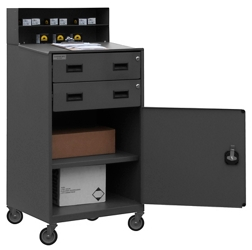 Mobile Standing Height Workstation with Locking Storage, 10365
