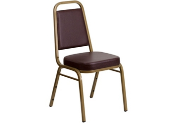 Brown Vinyl Banquet Chair with Gold Frame, 51682