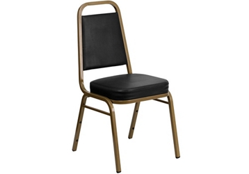 Black Vinyl Banquet Chair with Gold Frame, 51683