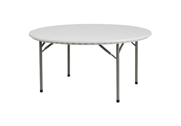 "Plastic Folding Table - 60""DIA, 46778"