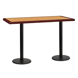 "Bar Height Table with Two Round Bases - 60""W x 30""D, 44356"