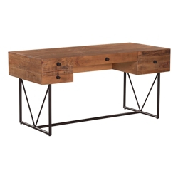 "Rustic Metal Base Desk - 63""W x 29""D, 10123"