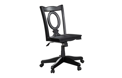 Armless Keyhole Back Wood Office Chair, 52407