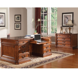 "Double Pedestal Executive Desk with Leather Top - 74""W, 14088"