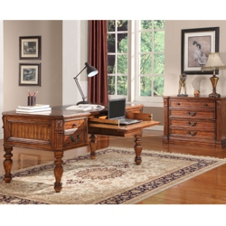 """Antique Finish Writing Desk with Leather Top - 66""""W, 14072"""