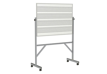 Reversible Whiteboard with Music Staff Lines and Box Tray - 3' x 4', 80941