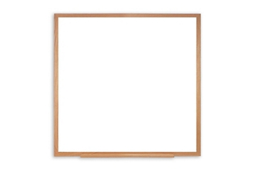 Porcelain White Board with Solid Oak Frame 4'W x 4'H , 80983