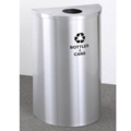 Half Round Satin Aluminum Bottles and Cans Recycling Bin, 85756
