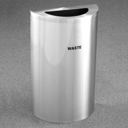 Half Round Satin Aluminum Waste Bin, 85760