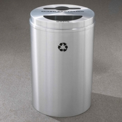 Round Satin Aluminum Mixed Recycling and Waste Bin, 85762