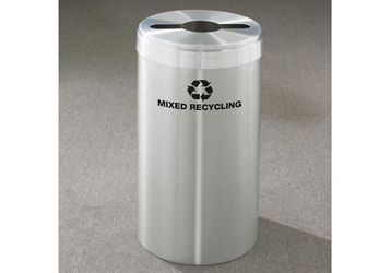 "Mixed Recycling Unit in Satin Aluminum Finish 12"" Diameter, 82991"
