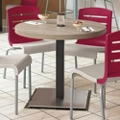 "Round Table with Square Steel Base - 30""DIA, 46166"