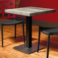 "Square Table with Square Stainless Steel Base - 36""W , 46172"